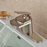Senlesen Nickel Brushed Single Handle Waterfall Bathroom Sink Vessel faucet Lavatory Mixer Tap