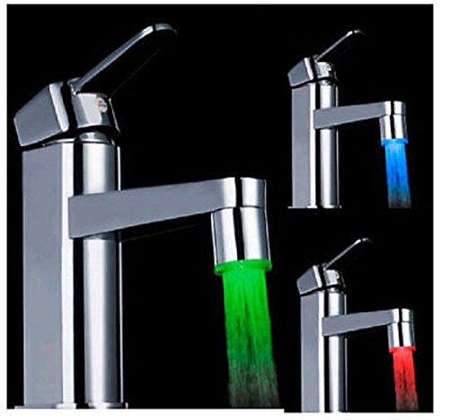 New Magical 3 Color Sensor LED Light Water Faucet Tap Temperature For Bathroom