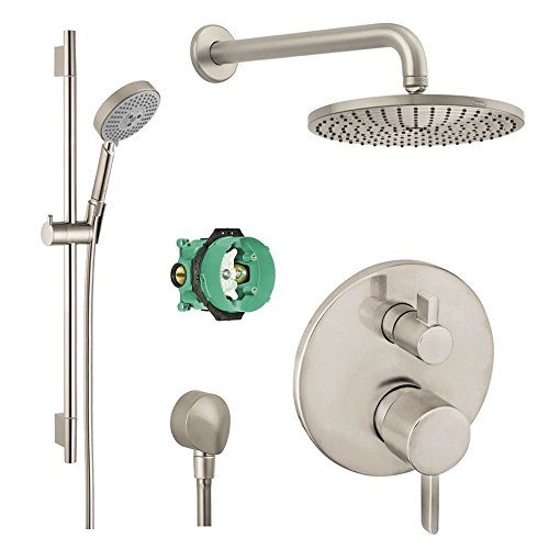 Hansgrohe Complete Brushed Nickel aindance Shower Faucet Set with Handshower Wallbar, Pressure Balance Valve Trim with Diverter, and Rough